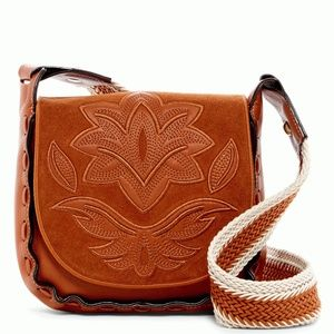 Sam Edelman Emma Emboidered Saddle Bag Cognac